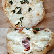 four cheese pizza with garlic rosemary crust