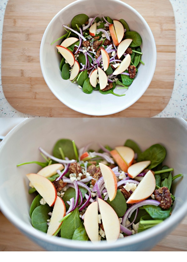 spinach salad with curried pecans and blue cheese
