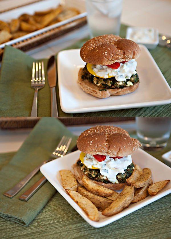 greek spinach burger