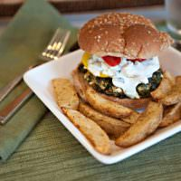 Greek Spinach Feta Burgers with Cucumber Yogurt Sauce