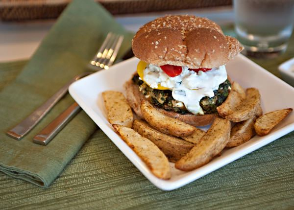 spinach feta burger recipe