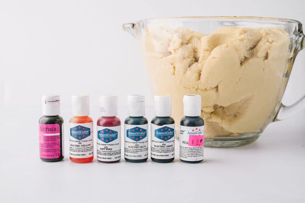 ingredients for tie dye cookies