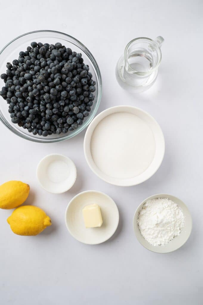 ingredients for fresh blueberry pie