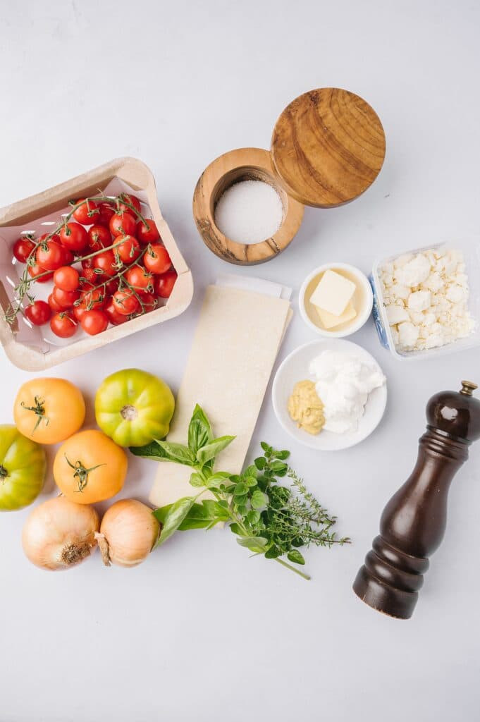 ingredients for tomato and feta tart