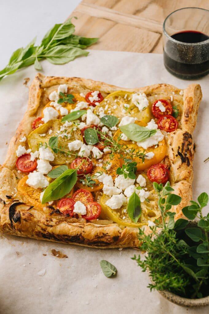 baked tomato and feta tart