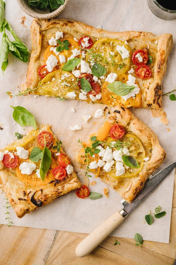 tomato and feta tart lices