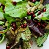 mixed greens with pomegranate and lemon dressing