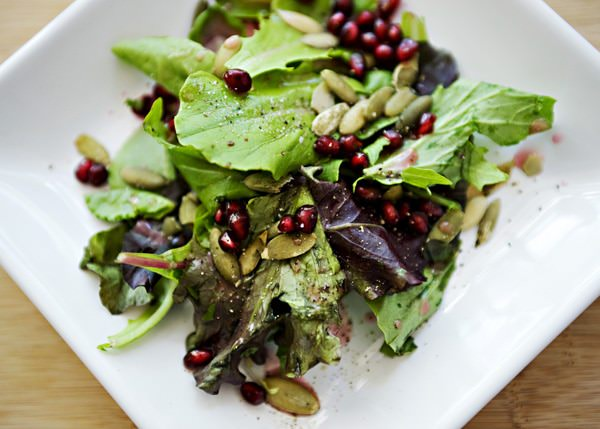 mixed greens with pomegranate lemon dressing recipe