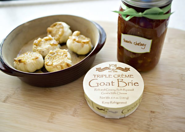 brie, roasted garlic, and tomato chutney appetizer recipe