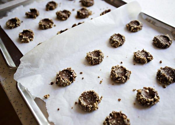 chocolate caramel pecan thumbprint recipe