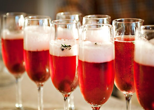 cherry thyme champagne cocktail recipe