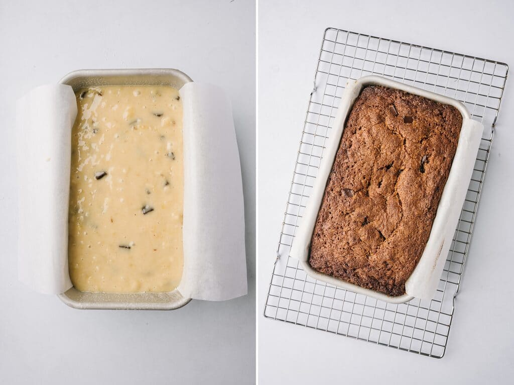 collage of before and after best banana bread ever in a pan