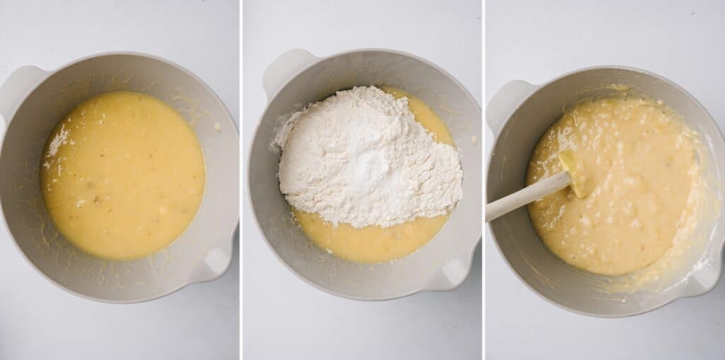 collage of mixing bowls with best banana bread ever ingredients