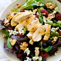 mixed greens with berries