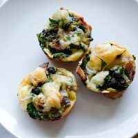 mini jarlsberg and spinach quiche