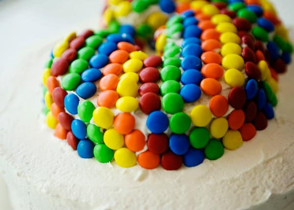 marshmallow buttercream frosting with M&Ms