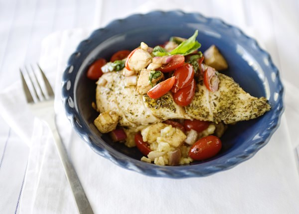 oven bake risotto with caprese chicken recipe