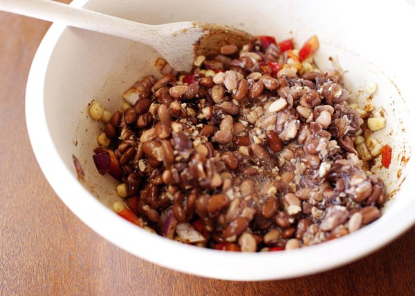 black bean cakes with corn salsa and avocado sauce recipe