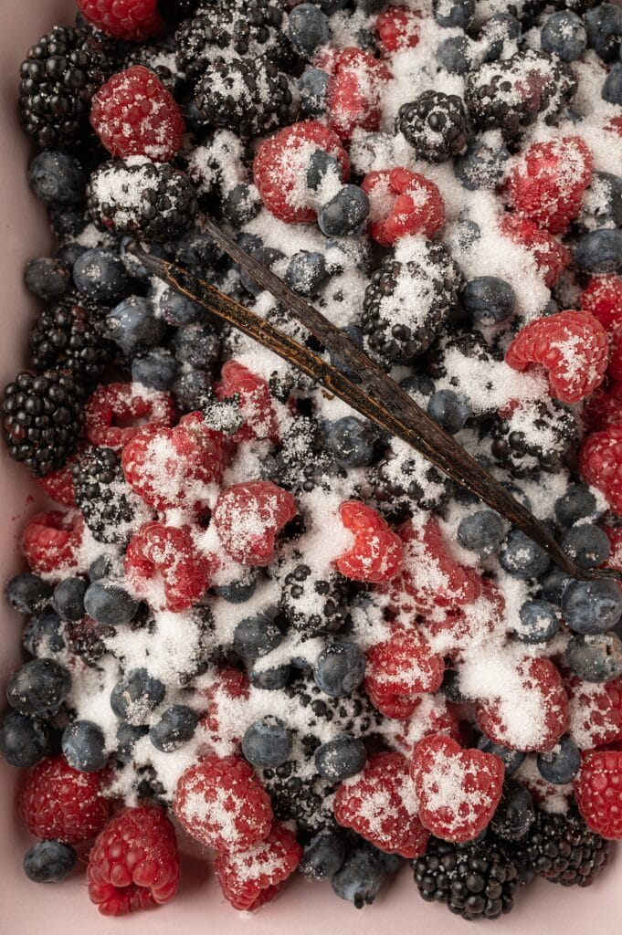 roasted summer berries sprinkled with sugar and vanilla bean