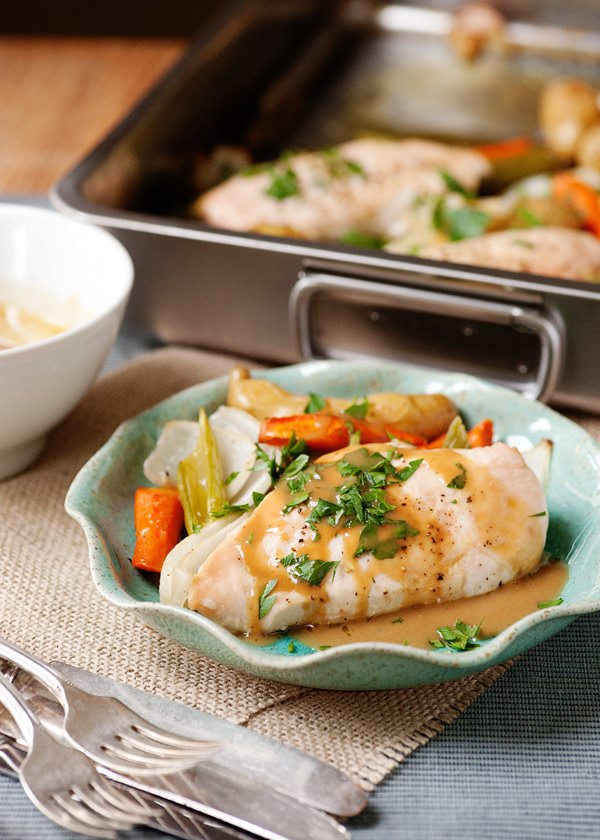 roasted chicken and vegetables with maple mustard sauce recipe