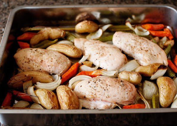 roast chicken and vegetables with maple mustard sauce recipe