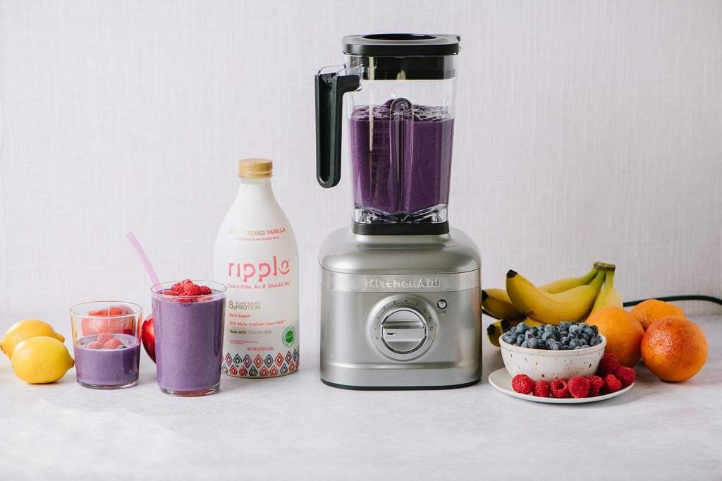 blender with smoothie ingredients