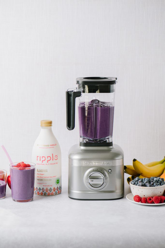 blender with ingredients to make ahead smoothies