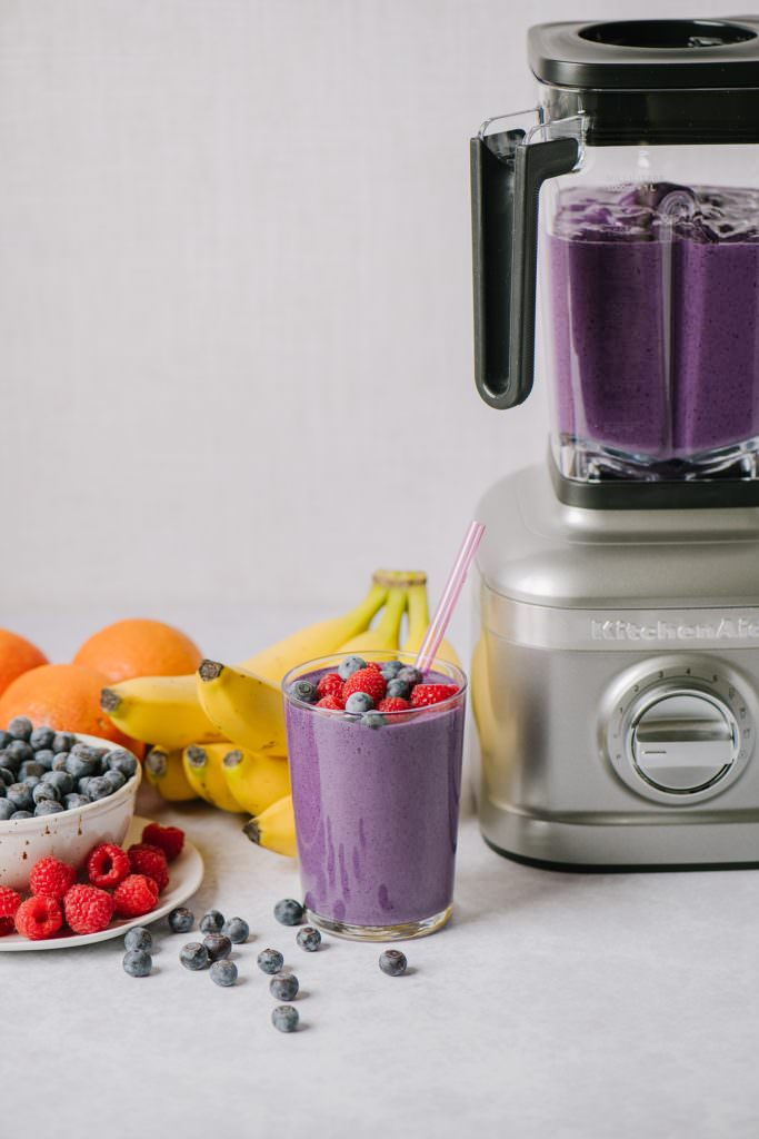Make Ahead Smoothies next to blender and fruit