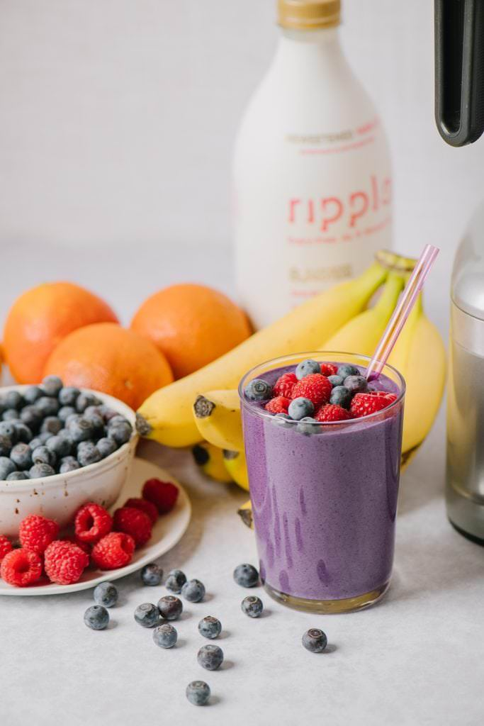 non-dairy make ahead berry smoothies next to fruit