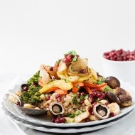 roasted vegetable and farro salad with pomegranates