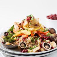 Roasted Vegetable Farro Salad with Pomegranates