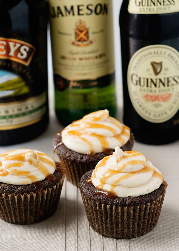 Recipe: Guiness cupcakes with Bailey's frosting and Jameson caramel sauce