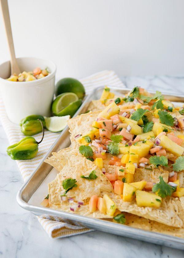 Nachos with Tropical Fruit Haberno Salsa