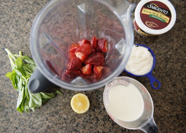 Add the strawberry mixture, basil leaves, ricotta cheese, and cream to ...