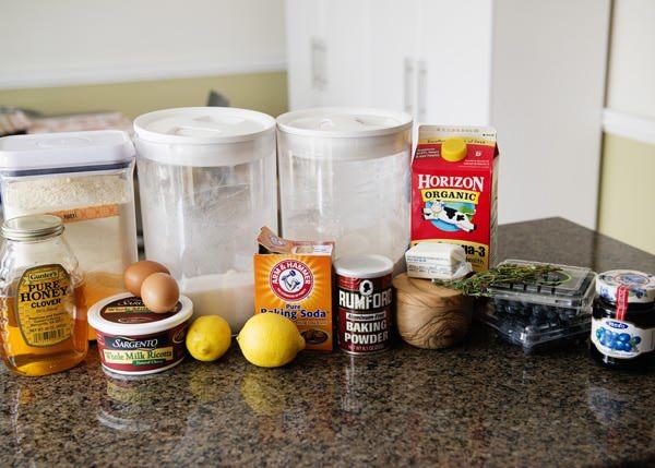 Lemon thyme pancakes with blueberry sauce recipe