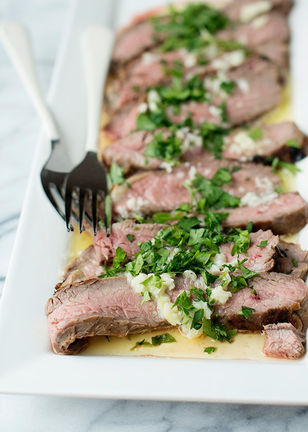 Flank Steak with Garlic Butter Sauce