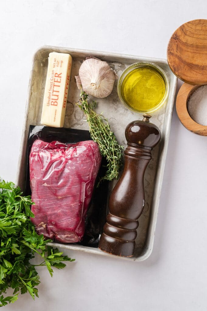 ingredients for flank steak with garlic butter sauce