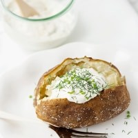 baked potatoes with garlic herb sour cream recipe