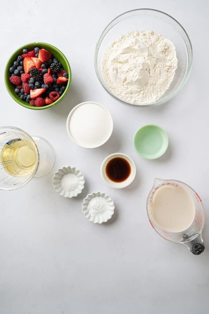 ingredients for vegan vanilla berry muffins