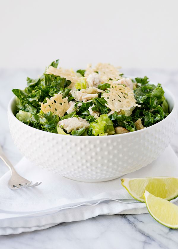 Kale Chicken Caesar Salad with Parmesan Crisp Croutons