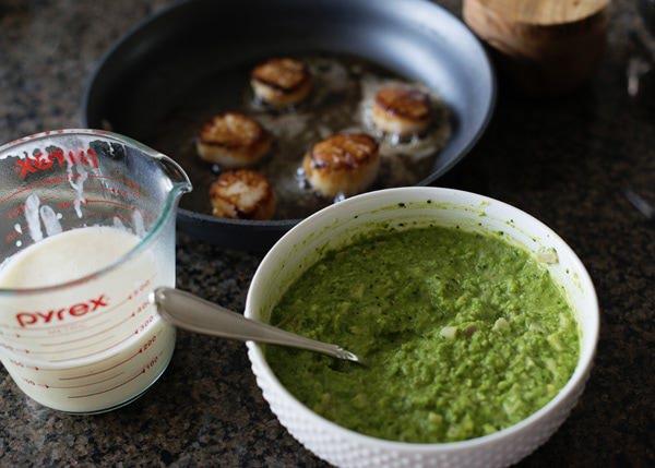 Seared Scallops with Beurre Blanc and Pesto Pea Puree