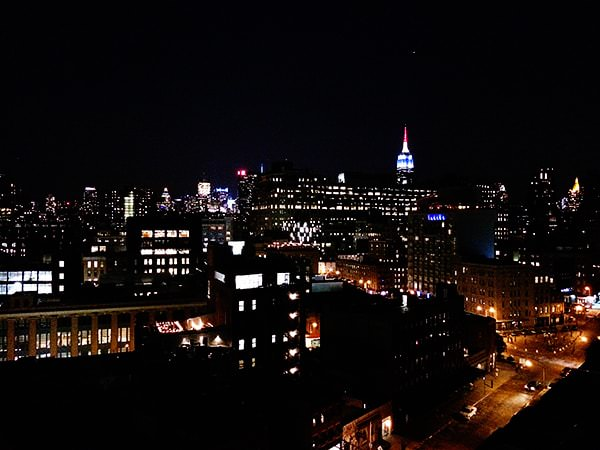 red white and blue empire state building