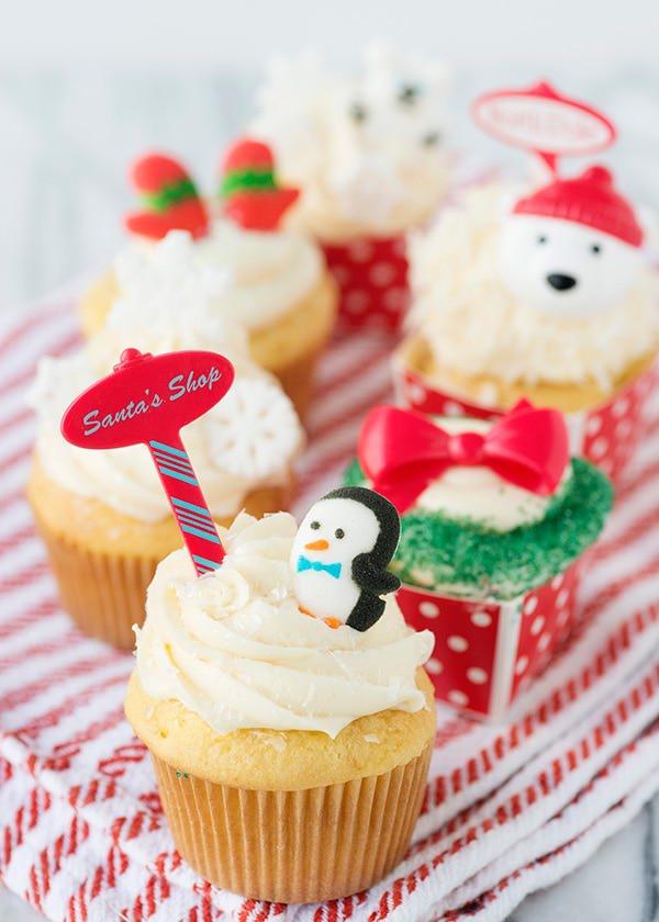 festive winter holiday cupcake decorations
