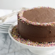 sour cream chocolate cake with chocolate buttercream
