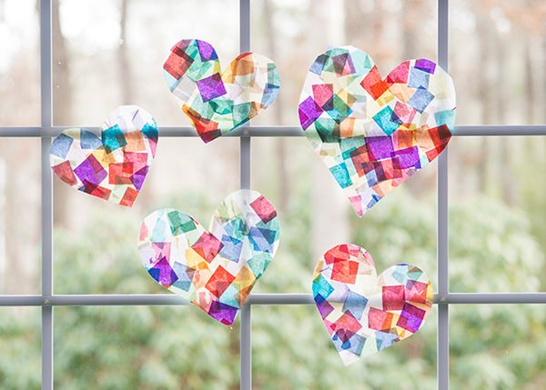 tissue paper stained glass DIY