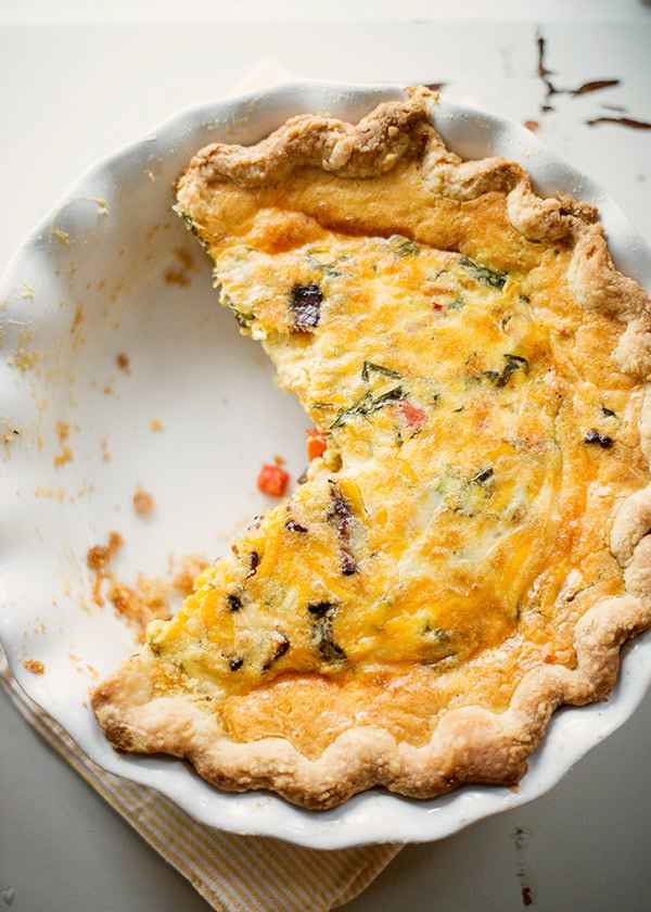Corn, Bacon, Basil & Cheddar Quiche