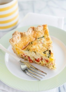 Corn, Bacon, Basil, and Cheddar Quiche