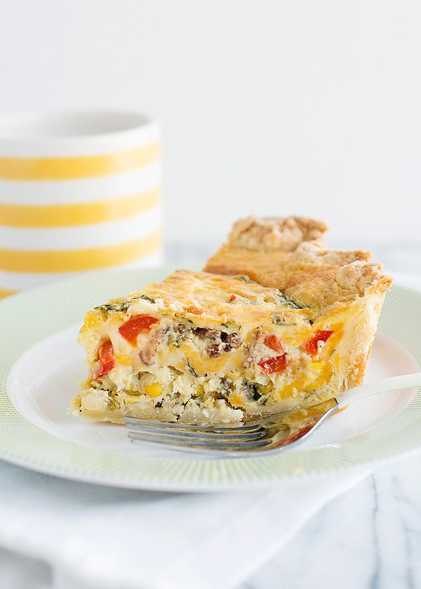 Corn Bacon Basil & Cheddar Quiche