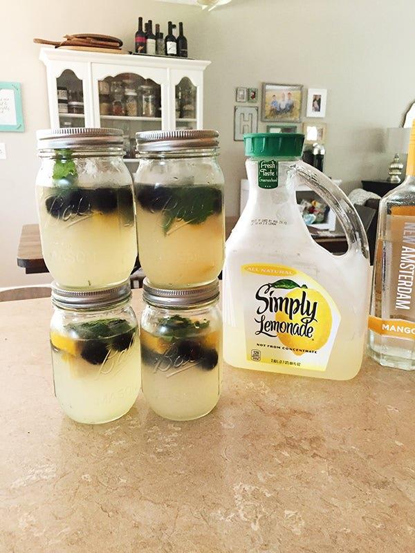 Mango blackberry mint lemonade cocktails