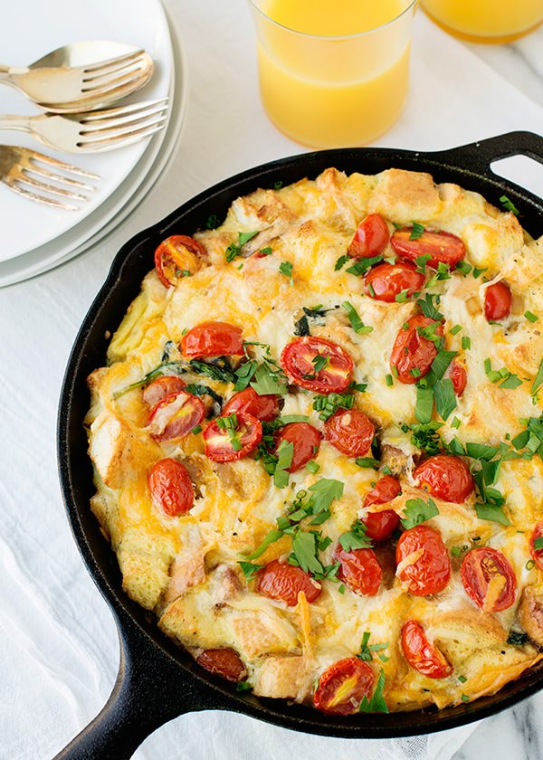 Spinach Tomato and Sausage Strata recipe